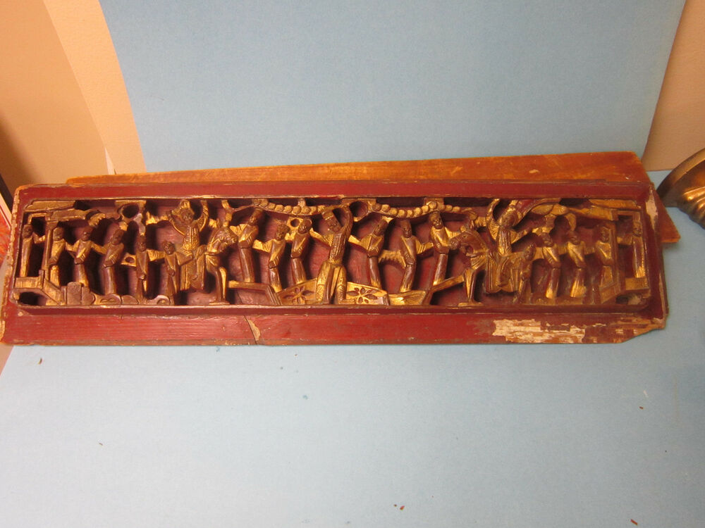 Wood vintage hand carved asian architectural red gilt