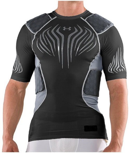 New under armour compression padded mens football shirt for Under armor football shirts