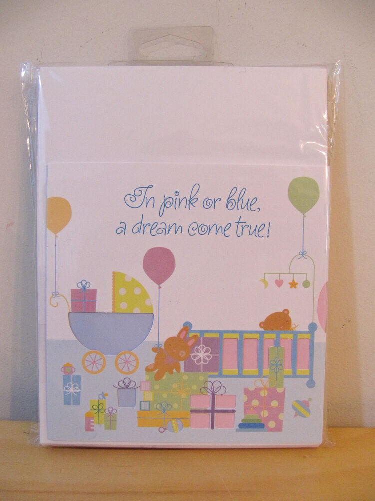 new hallmark pink blue spinning wheel baby shower 8 invitations