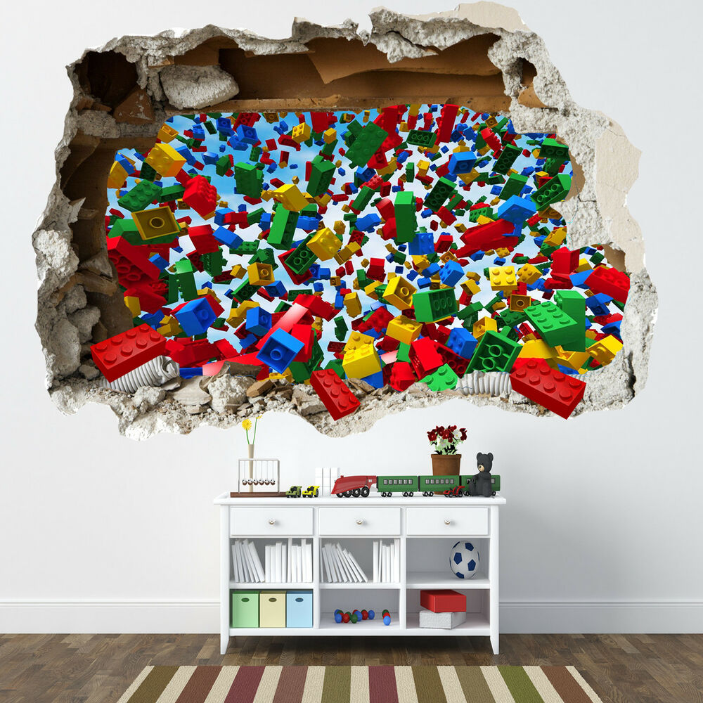 lego smashed wall sticker 3d bedroom lego bricks boys girls decal ebay. Black Bedroom Furniture Sets. Home Design Ideas