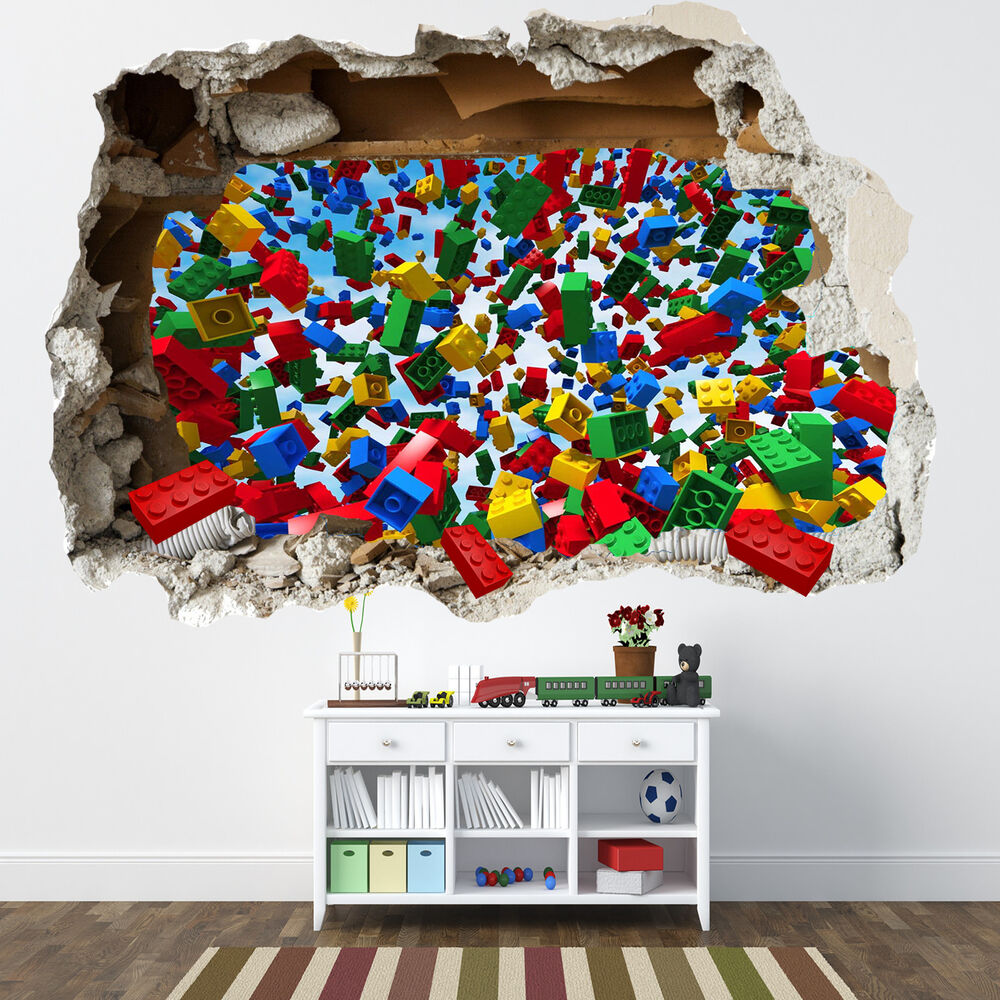 Lego smashed wall sticker 3d bedroom lego bricks boys for Boys wall art