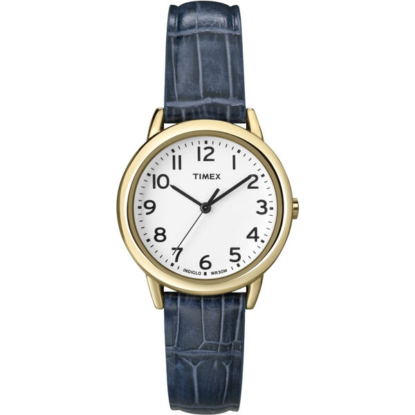 Timex women 39 s indiglo watch gold with date blue leather band ebay for Indiglo watches