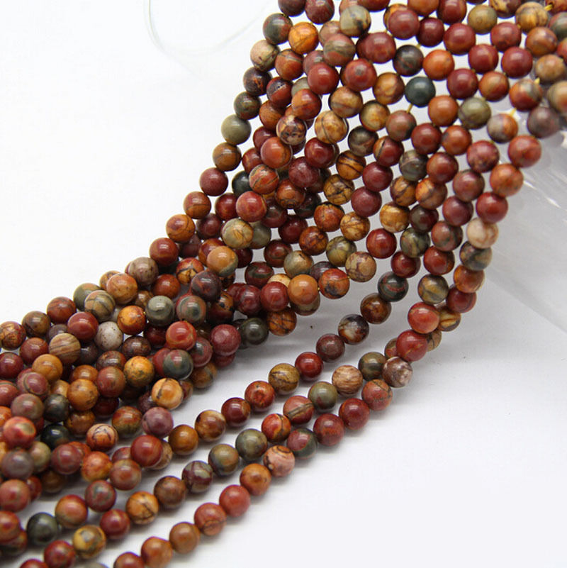 Natural Stone Beads : Natural picasso jasper stone gemstone round loose spacer