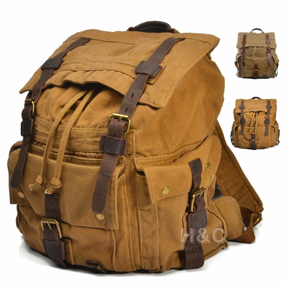 Outdoor canvas rucksack camping hiking backpack laptop for Outdoor rucksack