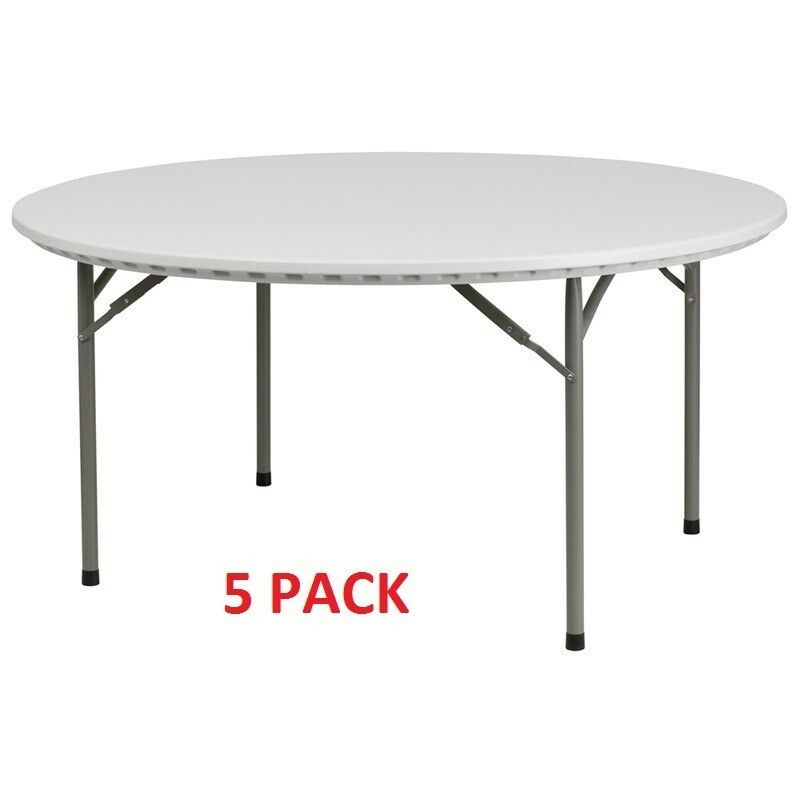 5 pack commercial quality 60 round plastic folding banquet tables ebay. Black Bedroom Furniture Sets. Home Design Ideas