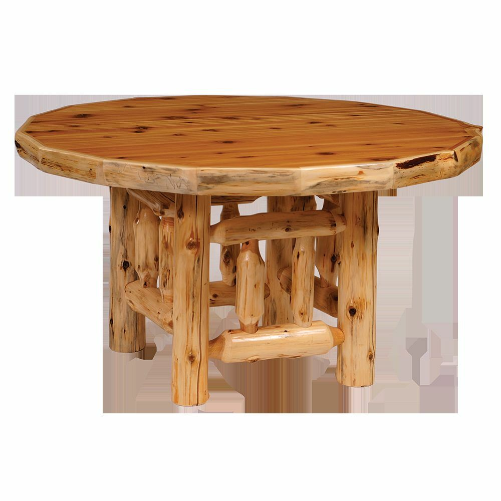 Cedar round log dining table real wood amazing quality for Table western