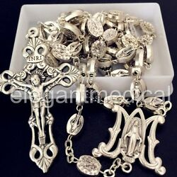 Kyпить SILVER Italy Catholic Our Lady Of Grace Mary Rosary Cross Crucifix necklace box на еВаy.соm