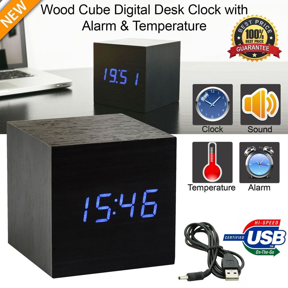 Black Wooden Cube Led Digital Alarm Clock With Thermometer