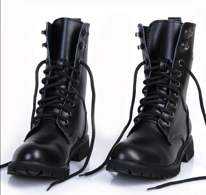men 39 s black faux leather military biker punk motorcycle mid calf boots shoes sz ebay. Black Bedroom Furniture Sets. Home Design Ideas