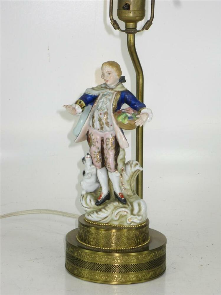 French Style Porcelain Figurine Boudoir Table Lamp Man