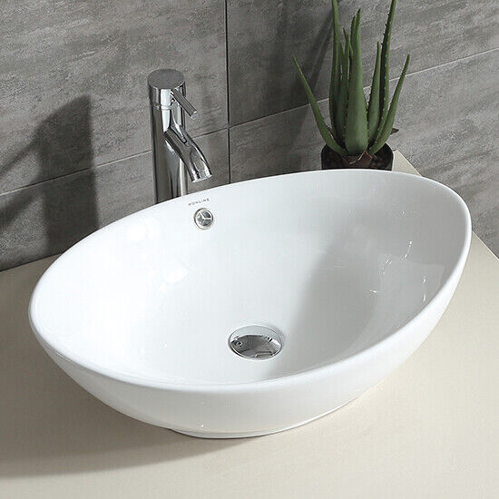 Oval White Modern Bathroom Ceramic Vessel Sink Bowl w/Chrome Faucet ...
