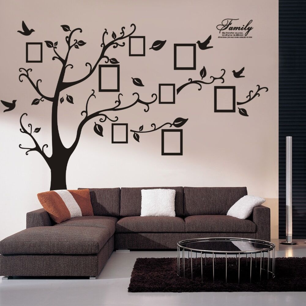 Huge family photo frame tree vinyl removable wall stickers for Design wall mural