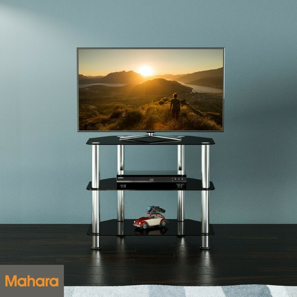 Black Gloss Glass Small TV Stand 60cm Wide, Suitable For ...