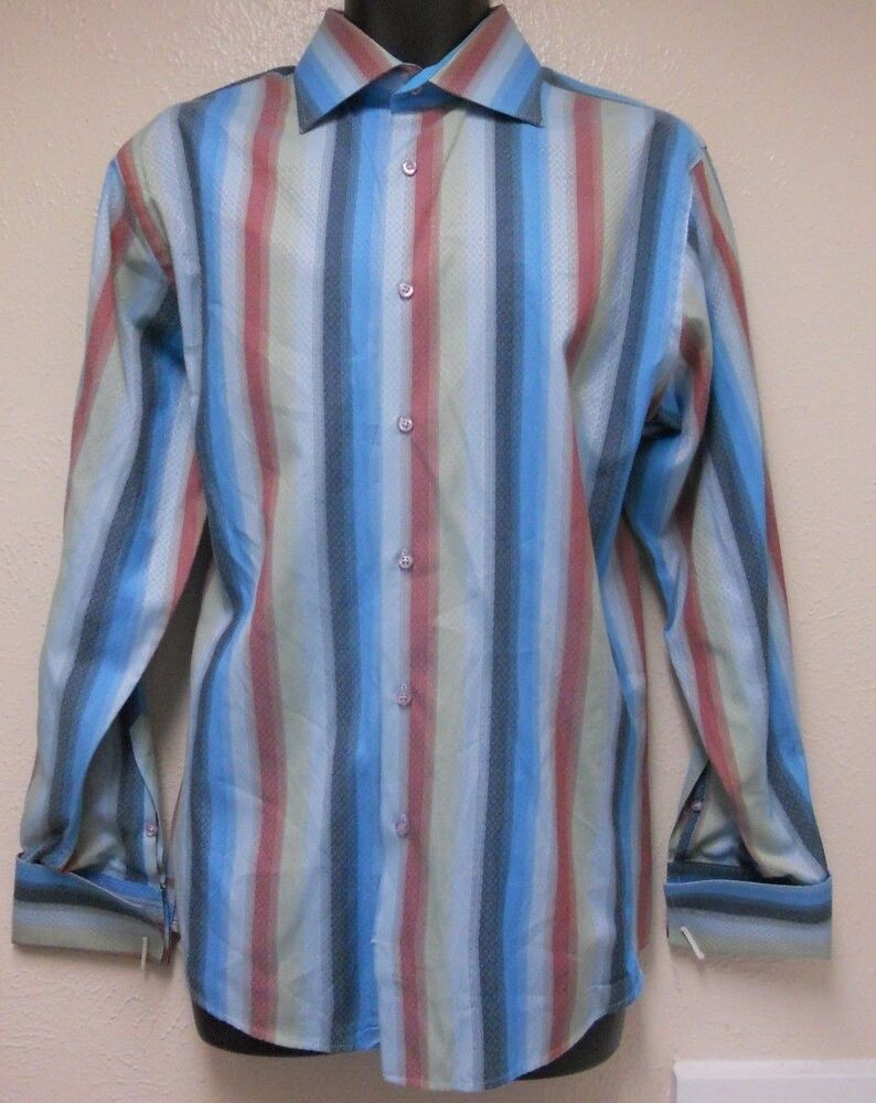 Roar blue red striped long sleeve french cuff dress shirt for French cut shirt sleeve