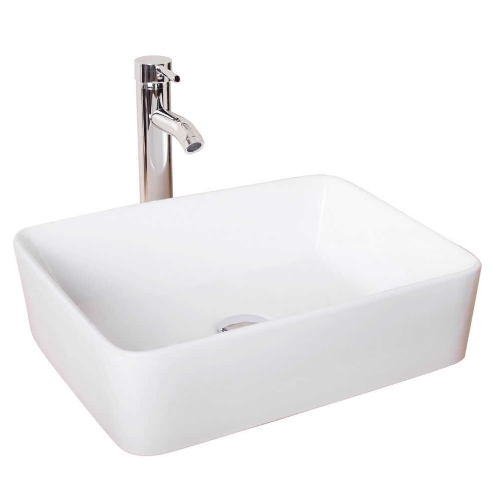 new bathroom rectangle ceramic vessel sink white porcelain 20030