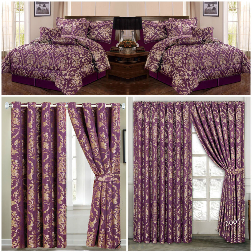 Jacquard Luxury 7 Piece Purple Comforter Set Bedspread With Matching Curtains Ebay