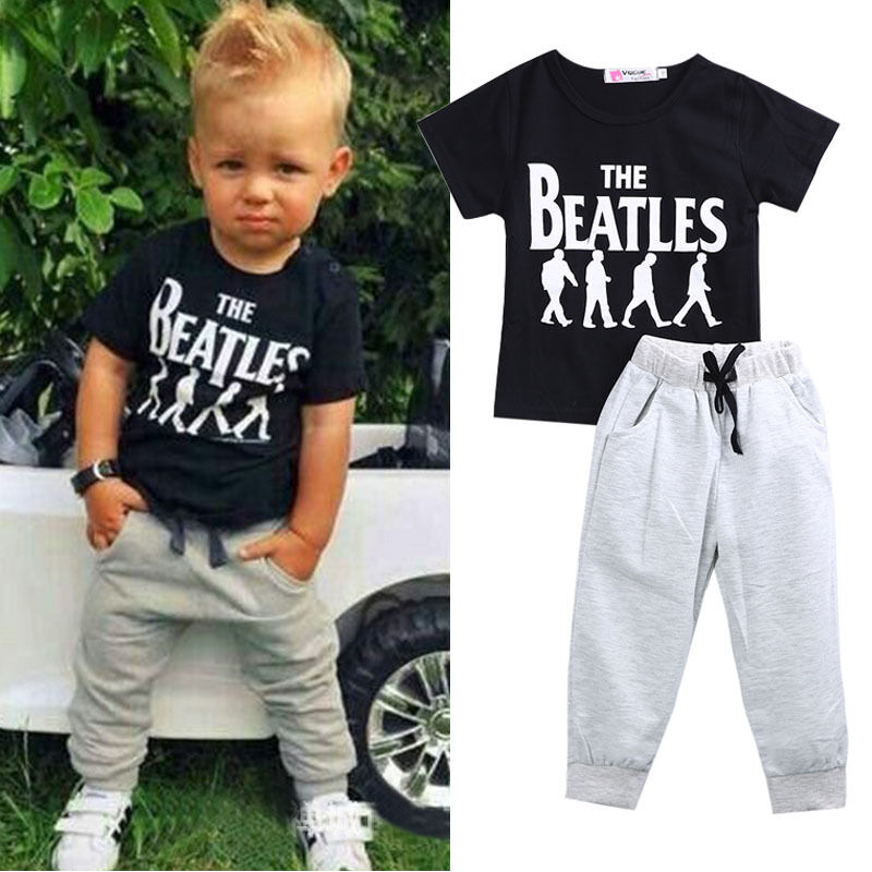 2pcs baby boy kids short sleeve t shirt tops pants outfit