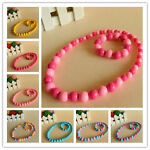 Girl Kids Toddlers Candy Colorful Round Beads Necklace Bracelet Jewelry Set