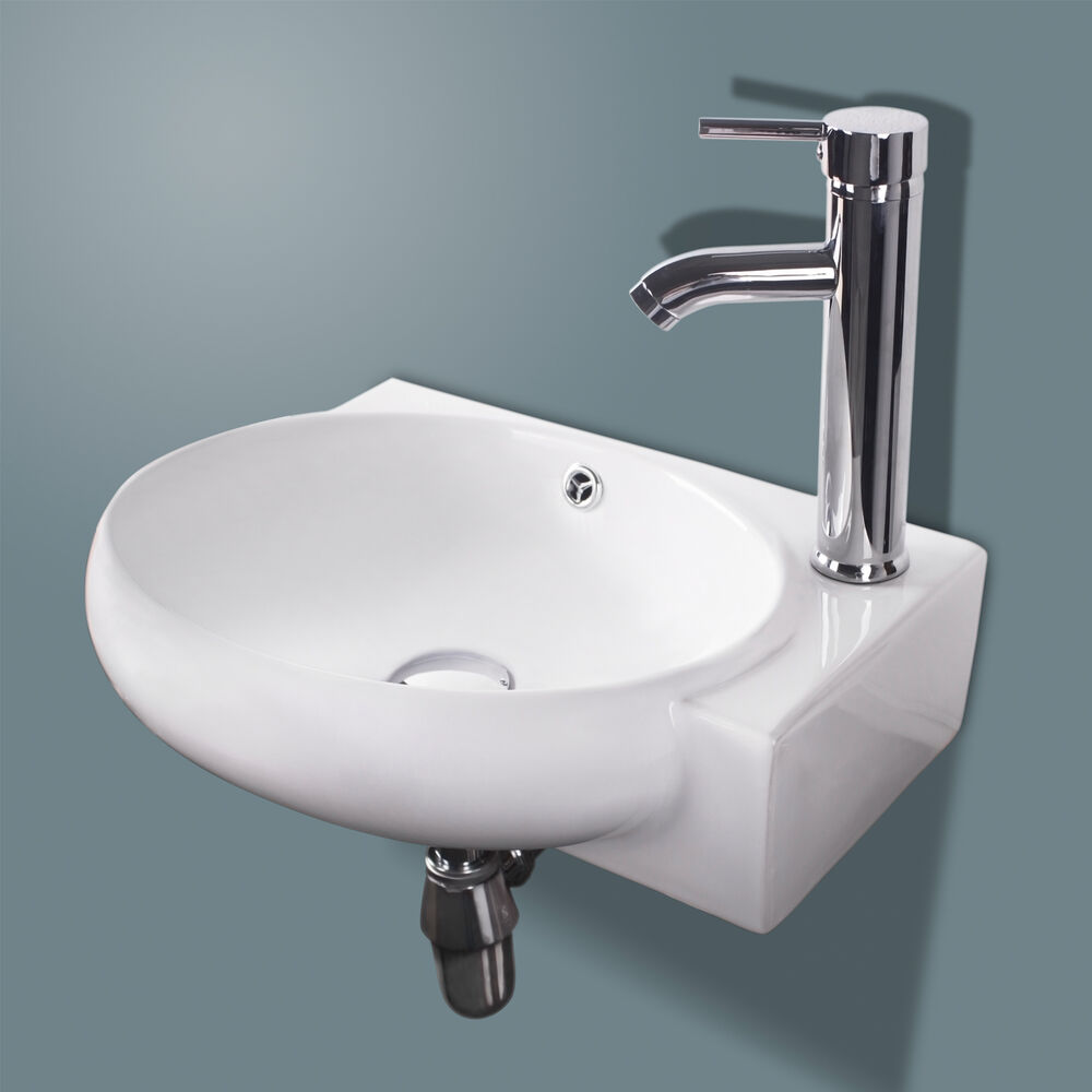 Corner wall mount bathroom white porcelain ceramic vessel sink chrome faucet ebay for White porcelain bathroom faucets