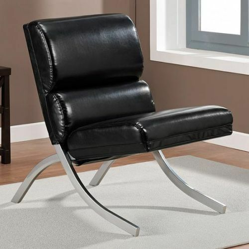 Black Leather Sofa Office: Modern Leather Chair Accent Office Black Lounge Desk
