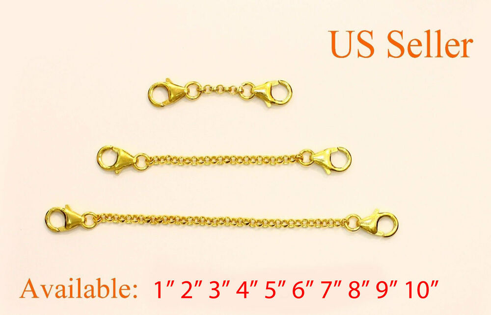 24k Gold Gold Plated Extender Safety Chain Necklace
