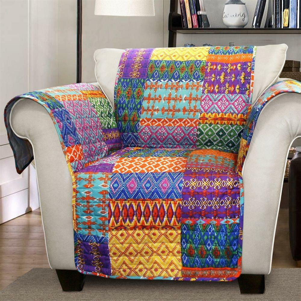 Orange Yellow Blue Purple Boho Patchwork Chair Furniture