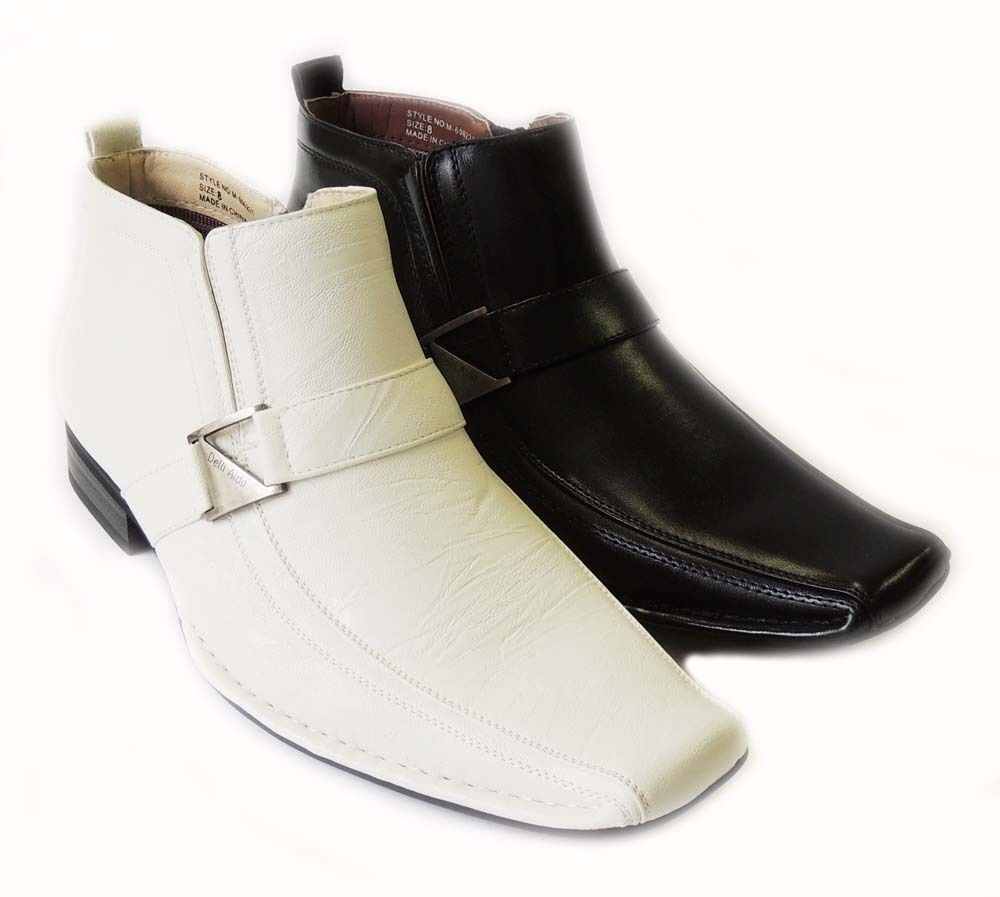 new mens leather ankle boots zippered comfort stretch fit