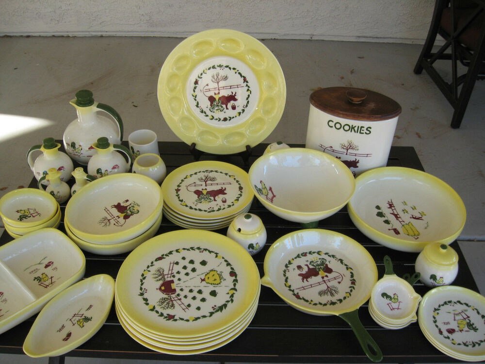 BROCK OF CALIFORNIA 50 NEW OLD STOCK 48 PCS FARMHOUSE DINNERWARE POTTERY