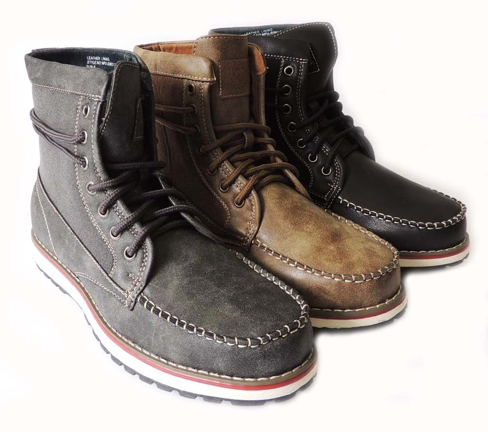 New Fashion Mens Military Combat Style Ankle Boots Leather Lined Shoes Lace Up Ebay