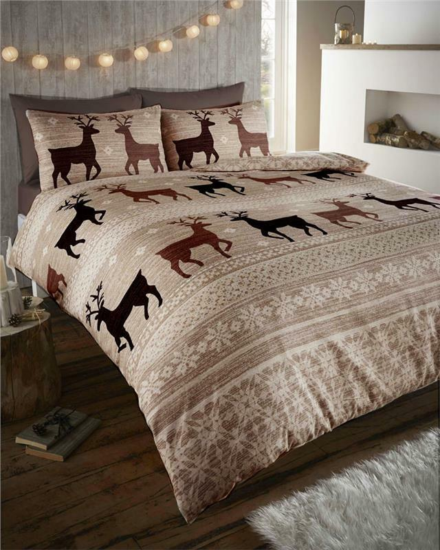 New Nordic Stag Taupe Cotton Flannelette Quilt Cover King