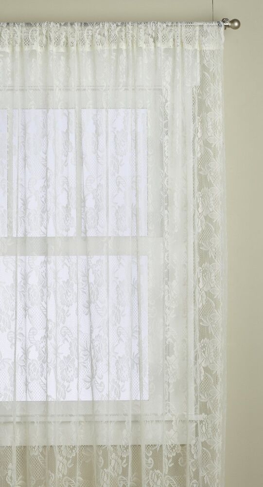 Curtain panel jacquard lace window floral pattern polyester 60 x 84