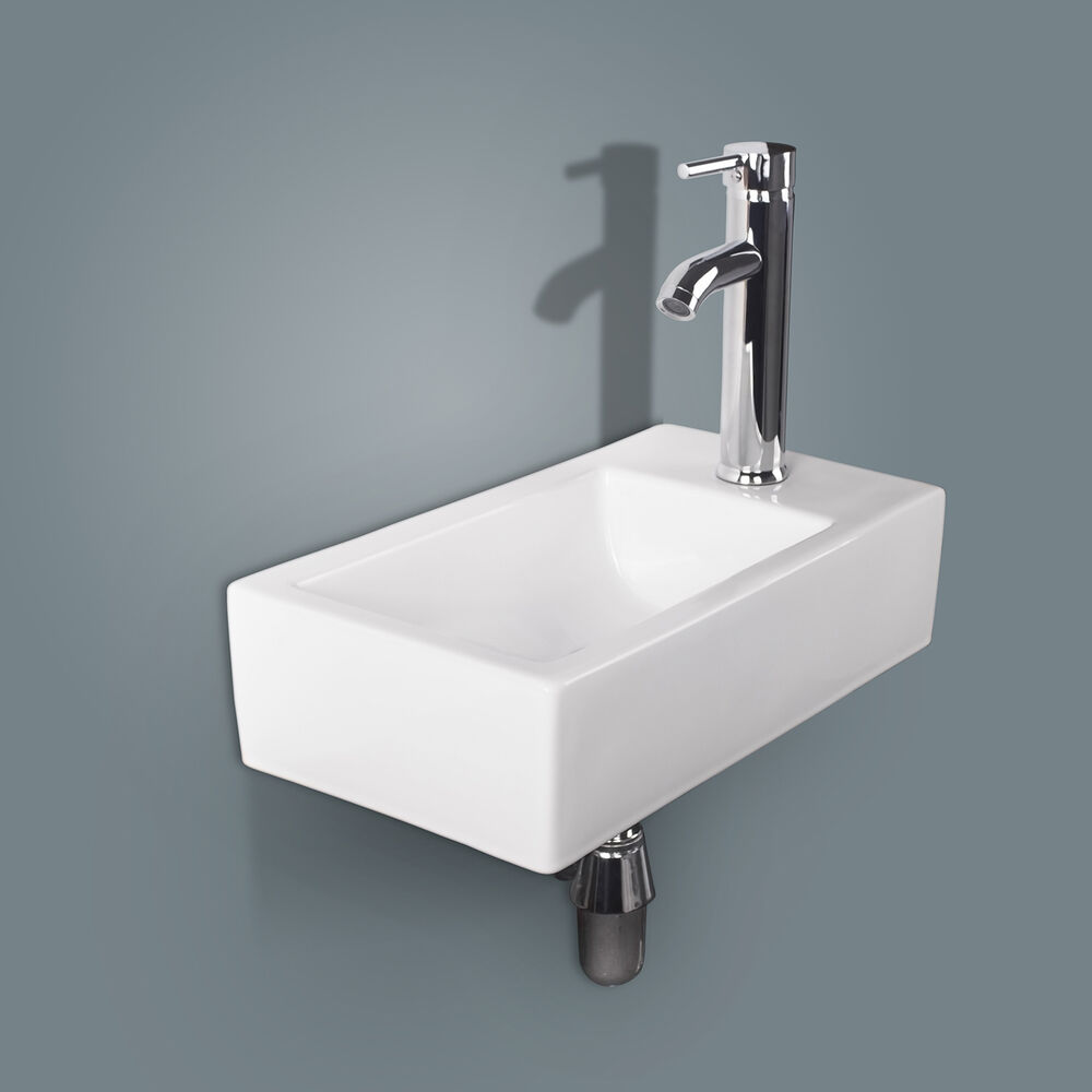 Bathroom Ceramic Vessel Sink Wall Mount Rectangle White Porcelain Chrome