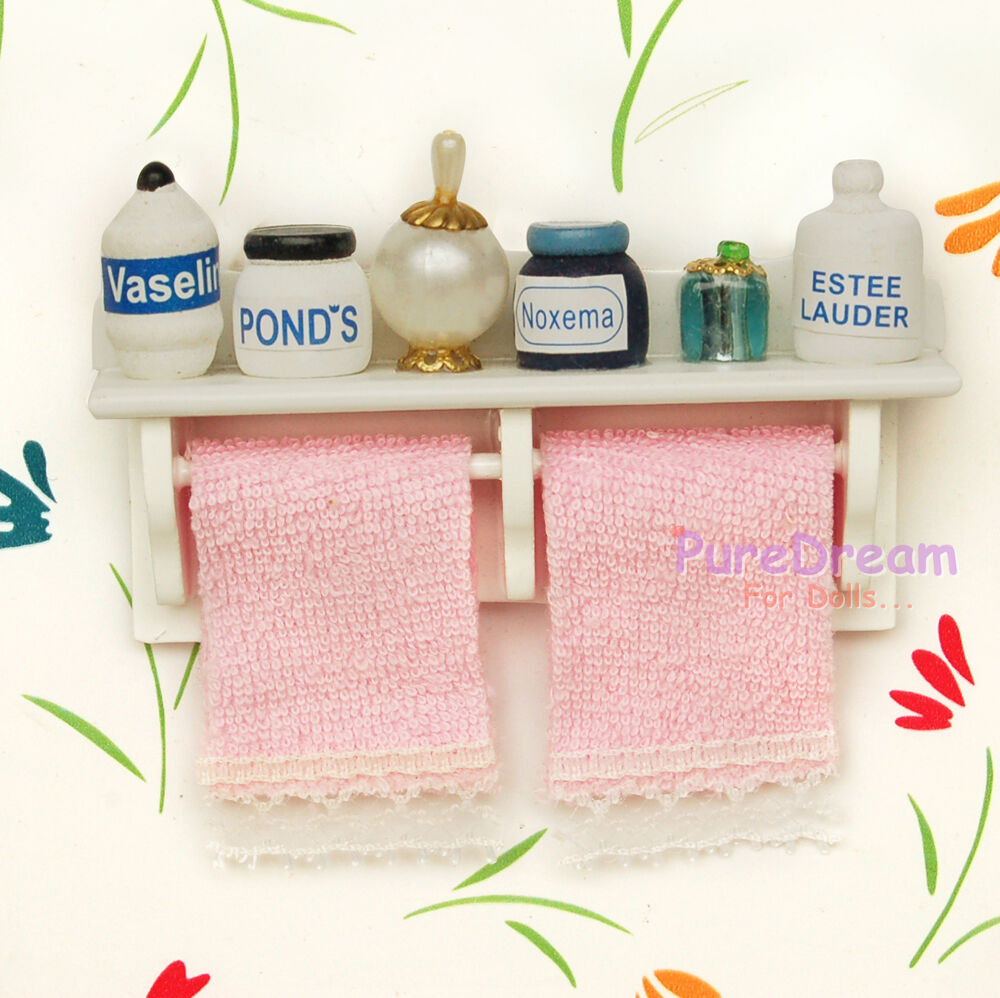 112dollhouse miniature bathroom accessory towel rack with