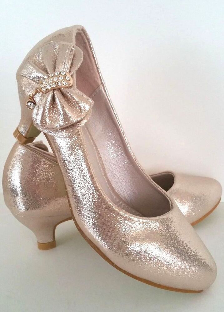 girls gold rhinestone bow pageant low heel party dress
