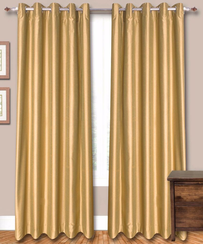 Gold Faux Silk Curtains 51 Inch 130cm Wide Choice Of Plaintop Length Lining Ebay