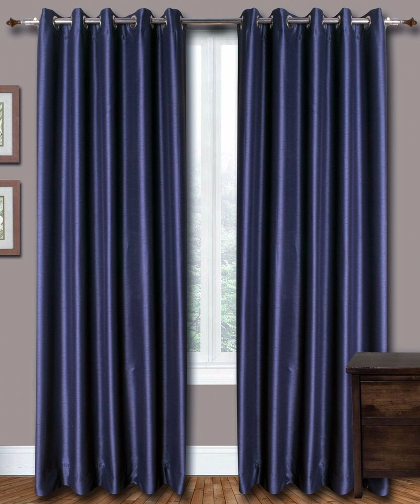 Blue Faux Silk Curtains 51 Inch 130 Cm Wide Choice Of