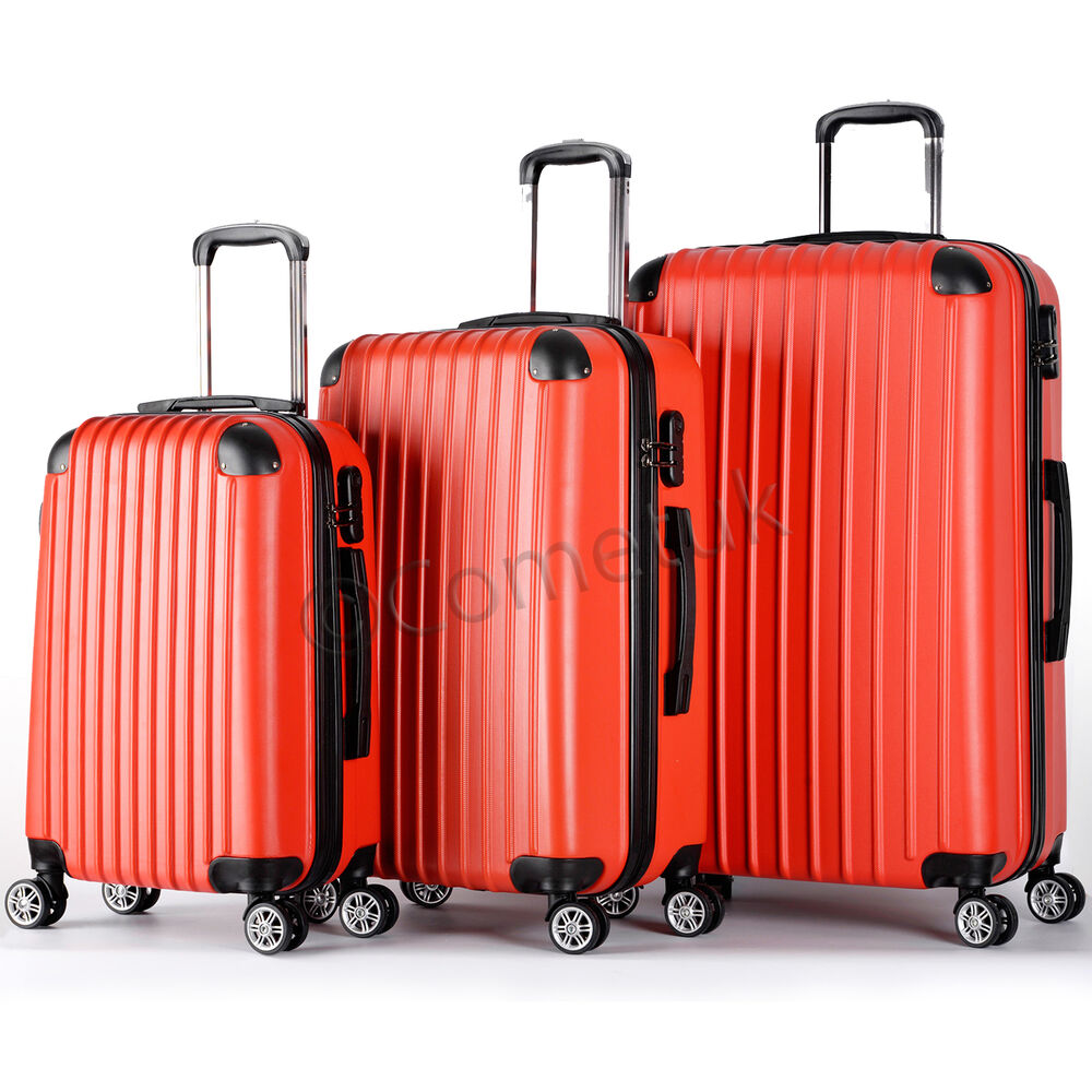 set of 3 piece travel luggage wheel trolley suitcase bags hard shell size s m l ebay. Black Bedroom Furniture Sets. Home Design Ideas