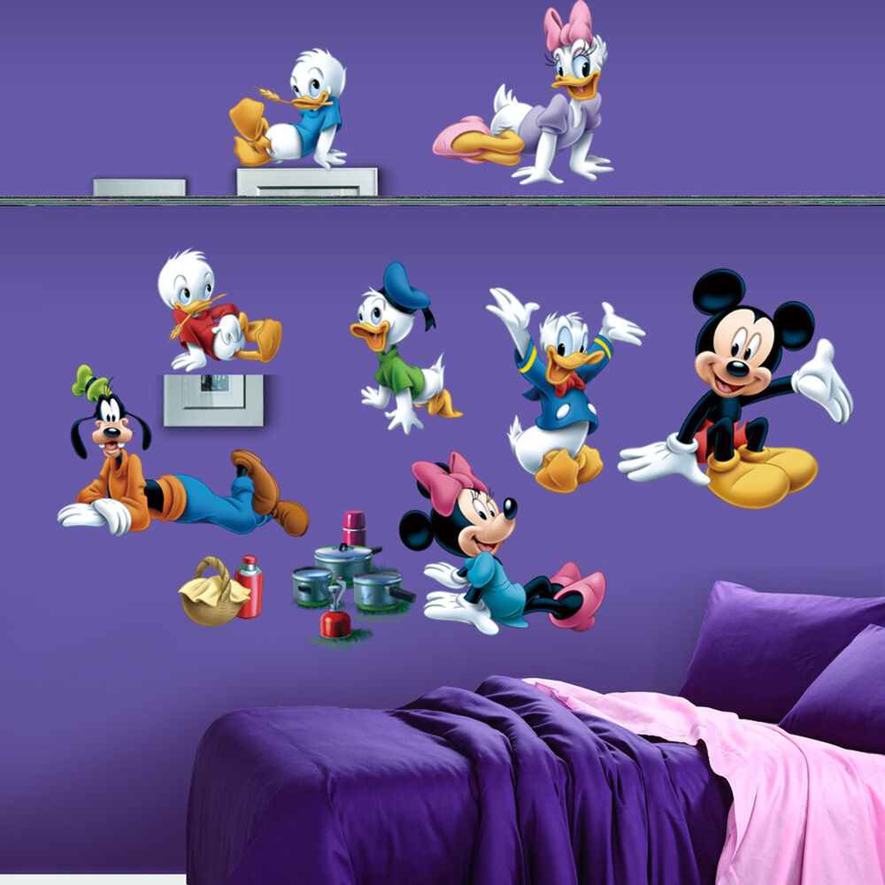 Mickey mouse donald duck kids removabel home decal wall for Childrens wall mural stickers