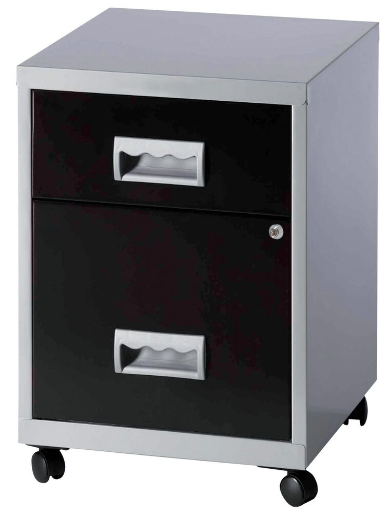 Pierre henry combi two drawer mobile a4 filing cabinet for Black and silver cabinet