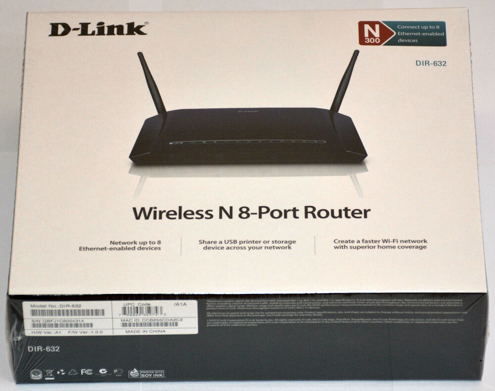 D Link DIR 632 300Mbps 8 Port LAN WiFi Wireless N USB