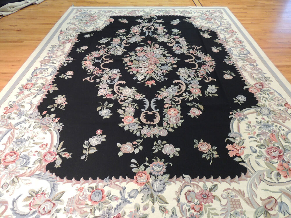 French Oriental Rugs : French aubusson needlepoint oriental area rug carpet