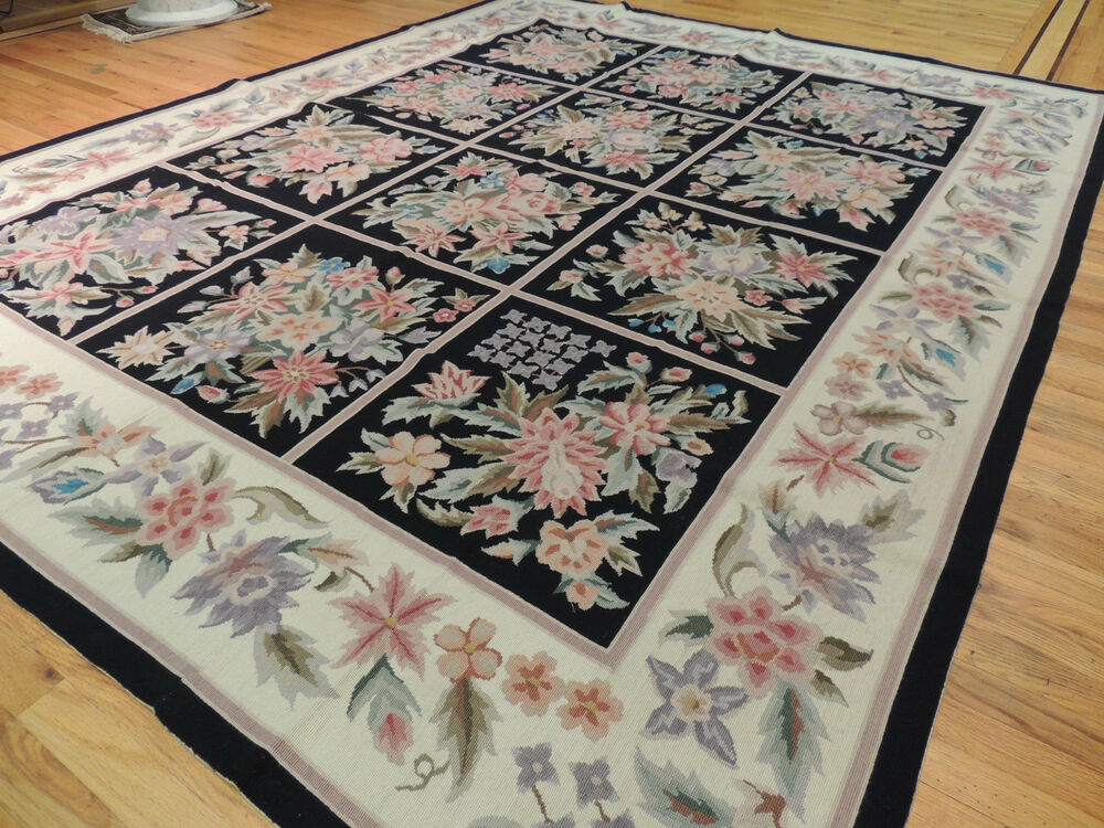 French Aubusson Design Needlepoint Oriental Area Rug