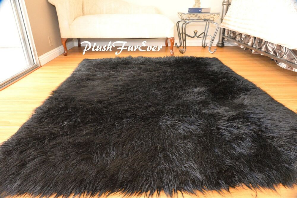 Elegant 8 X 10u0027 Faux Fur Rug Plush Black Mongolian Large Sheepskin Rectangle Area  Rug | EBay