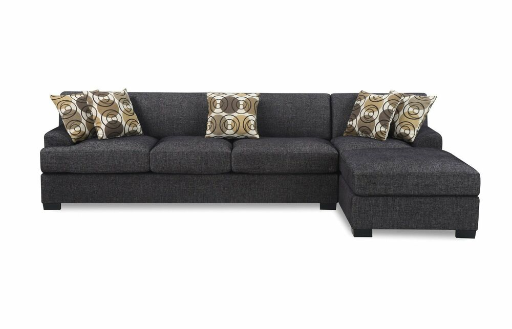 Modern 2pc dark grey reversible sectional sofa chaise with for Dark grey couch