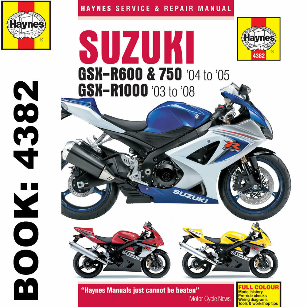 Suzuki GSX-R600 GSX-R750 2004-05 GSX-R1000 2003-08 Haynes Workshop Manual |  eBay