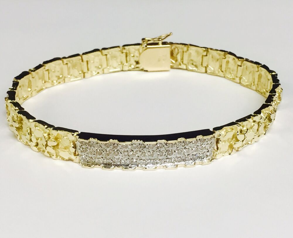 14k solid yellow gold mens 1ct diamond id nugget bracelet
