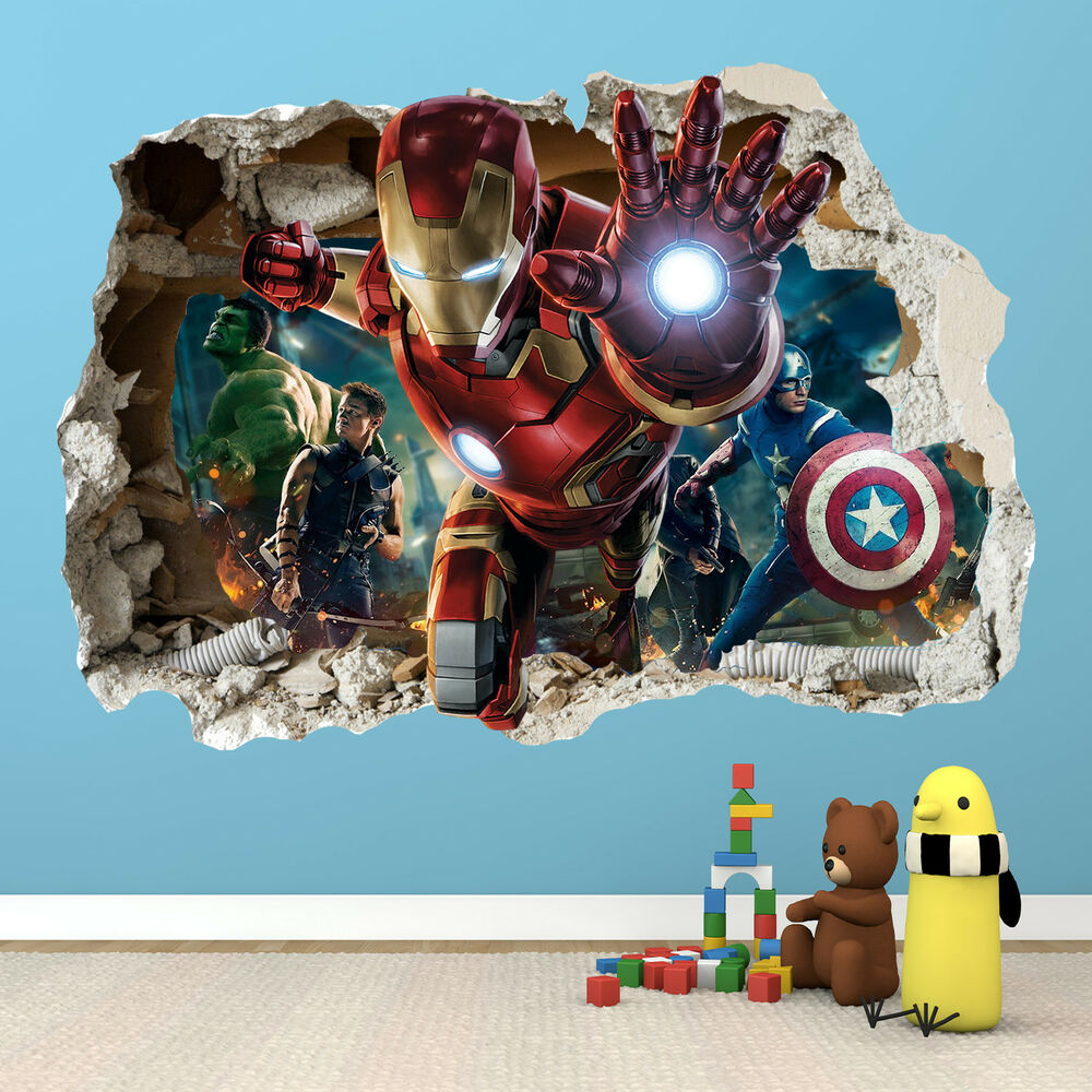 Ironman smashed wall sticker 3d bedroom avengers hulk for Stickers 3d pared