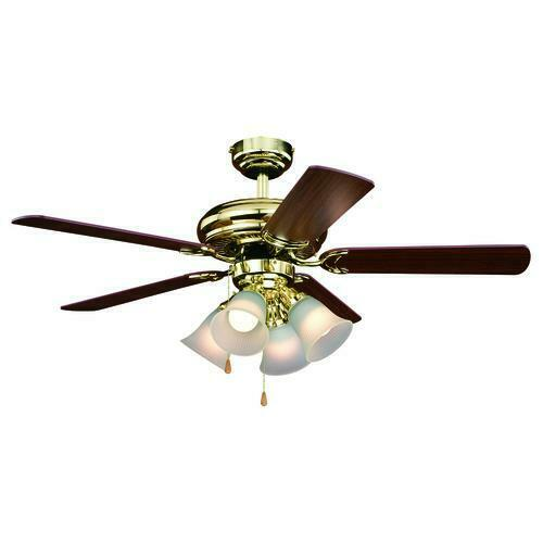 44 Bright Brass 4 Light Indoor Ceiling Fan With Light Kit