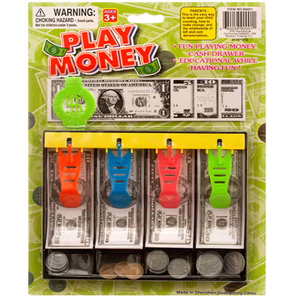 Colered Toy Money : Play money with tray kids toy fake cash currency paper