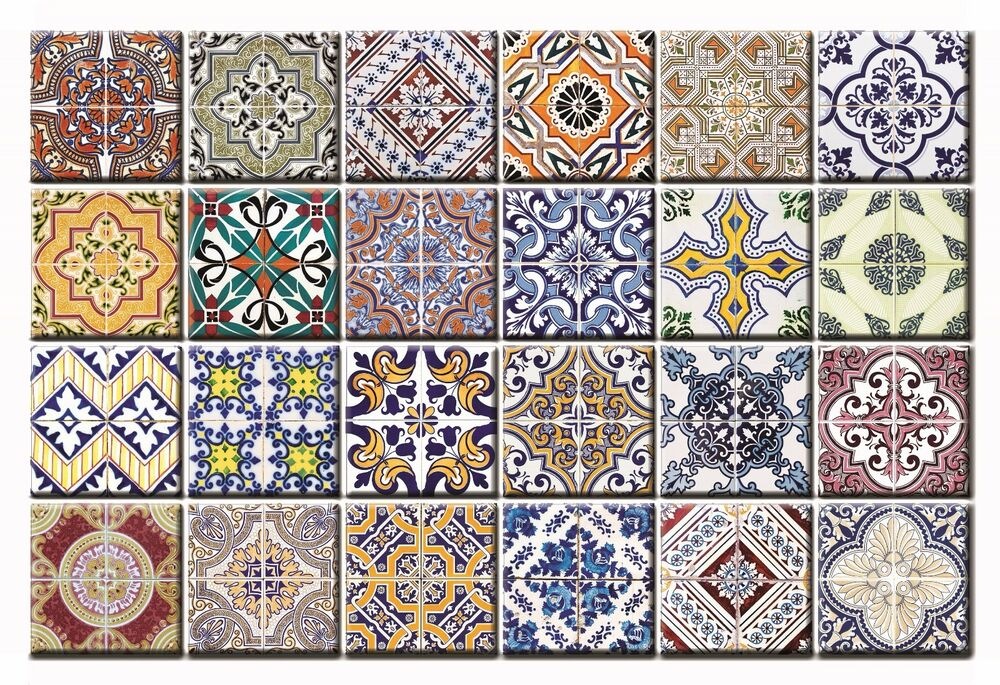 Traditional Set 24 Spanish Tiles Decal Sticker Patters
